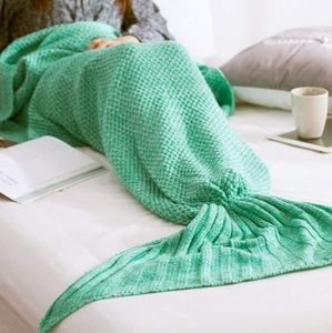 Other - Knit mermaid tail blanket turquoise